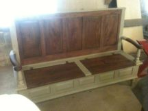 Painted Reclaimed Pine Monks Bench with Lift-lid Storage