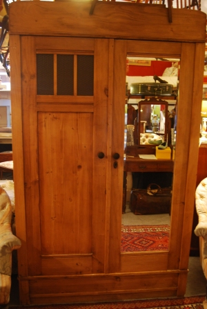 1920s Antique Pine Wardrobe in Deco Style £435