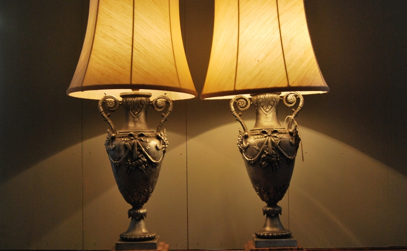 Pair of early 1930s Decorative Urn Lamps on Marble Base, £235 the pair