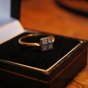 Art Deco Period 18 Carat Gold Band with 4 Diamonds set in Platinum