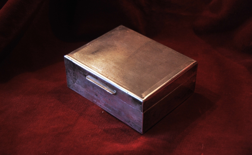 Solid Silver English Cigarette Box 1954, £169