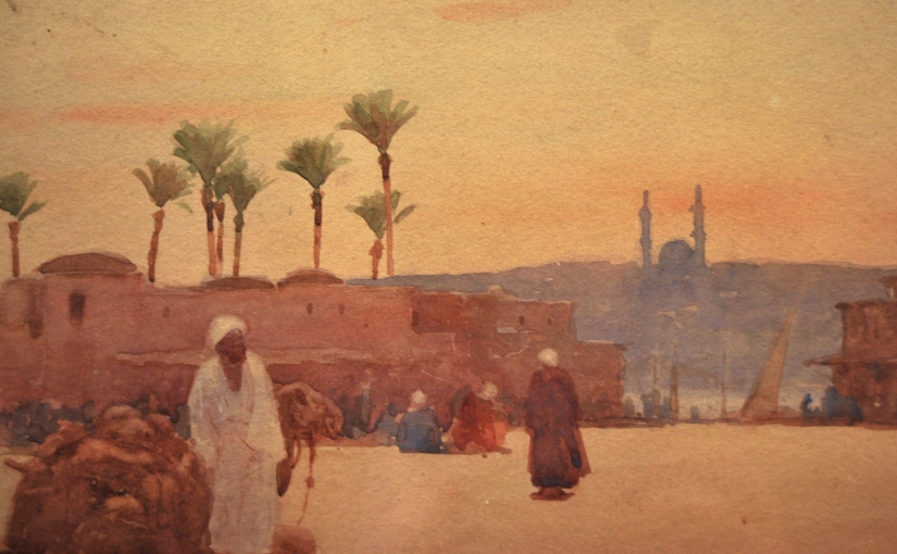 """An Arab With His Camel & A View Of Cairo Beyond"" Watercolour by Edward Mills, £149"