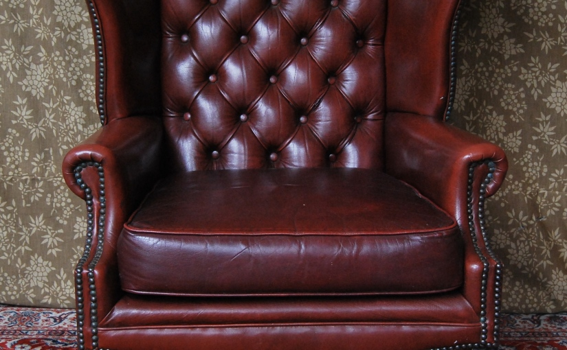 Vintage Antique-Style Faux Leather Wingback ChairSOLD