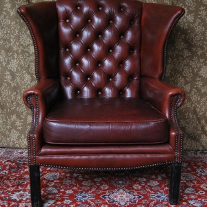 Vintage Antique-Style Faux Leather Wingback Chair SOLD
