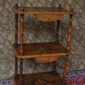 Mid-Victorian Walnut Whatnot with Satinwood & Ebony inlay c. 1860 £595