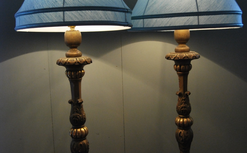 Pair of early 20th Century Ornate Giltwood Lamps, £435