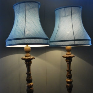 Pair of early 20th Century Ornate Giltwood Lamps