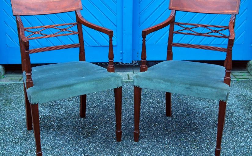 Set of 6 early 20th Century Sheraton style Mahogany Dining Chairs£695