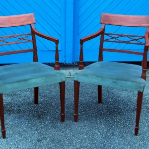 Set of 6 early 20th Century Sheraton style Mahogany Dining Chairs £695