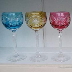 Set of 6 Mid-20th Century Bohemian Long Stemmed Hock Glasses