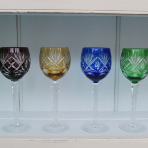 Set of 7 Mid-20th Century Long Stemmed Coloured Hock Glasses