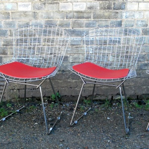 "Set of 4 Harry Bertoia Design Steel Mesh Chairs with Red ""Pill"" cushions"