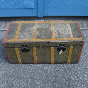 1930s Vintage French Metal & Wooden Banded Trunk
