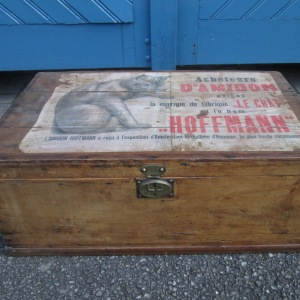 "Vintage French Small Pine Trunk with ""Le Chat"" Print"