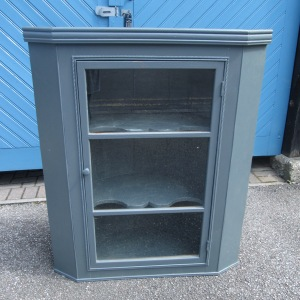Late Georgian Painted Oak Wall Glazed Corner Cabinet