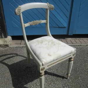 Painted & reupholstered Victorian Mahogany Chair