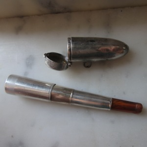 Rare Travel Cheroot Holder by Thomas H Vale in bullet-shaped pendant 1915