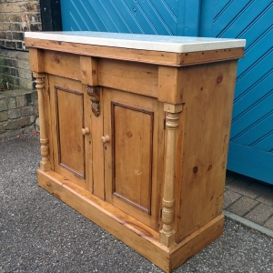 English Victorian Pine Sideboard with later Italian White Marble Top