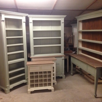 Various bookshelves, dressers, side tables & wine racks in production