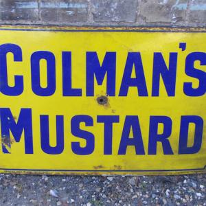 Original 1930s/40s Colman's Mustard Enamel Sign