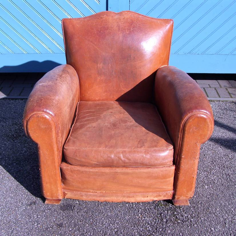 French Art Deco Period Brown Leather ArmchairSOLD