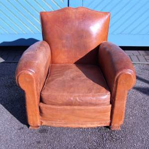 French Art Deco Period Brown Leather Armchair SOLD