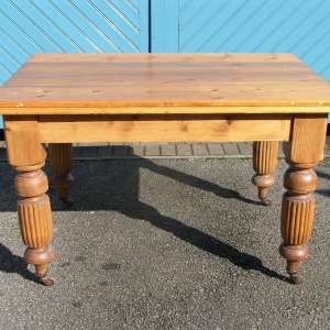 Solid Victorian Pine Kitchen Table Circa 1880