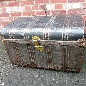 Industrial Finished Vintage Metal Trunk SOLD