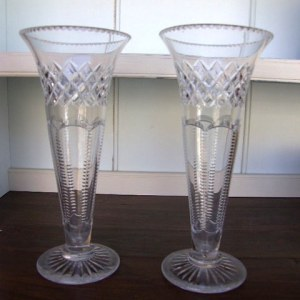 Pair of Edwardian Cut Glass Flower Vases