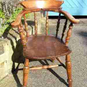 Antique English Oak Smokers Bow Chair