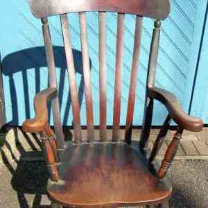 Antique 19th Century English Oak Grandfather Chair