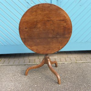 Original George III Oak Tripod Table on a Birdcage Swivel Base