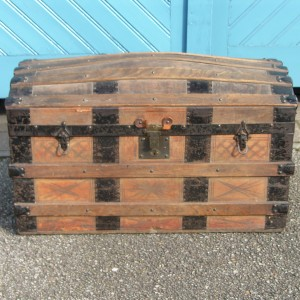 Late Victorian Wooden Boarded Travel Chest with Domed Lid