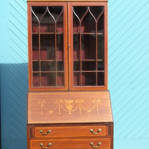 Edwardian Inlaid Bookcase Bureau