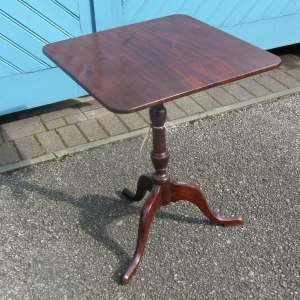 Solid Georgian Mahogany Tri-Pod Winetable with Square Top