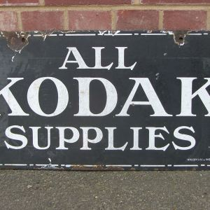Original 'All Kodak Supplies' Double Sided Enamel Sign circa. 1920s.