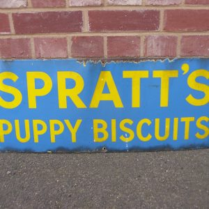 Original 'Spratts Puppy Biscuits' Enamel Sign circa pre. 1950s.