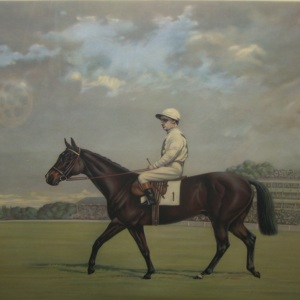 Rare Print circa 1947 of Gordon Richards riding 'Tudor Minstrel', hand signed by the artist and by Gordon Richards
