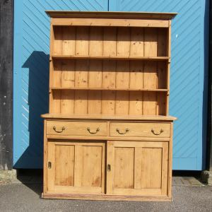 Lovely English Pine Kitchen Dresser with Original Brass Handles, circa 1880.