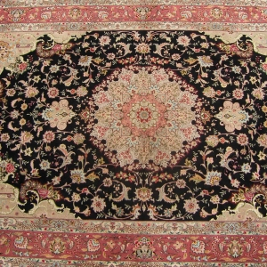 Original Hand-Knotted Wool & Silk with Cotton Foundation Persian Tabriz Rug