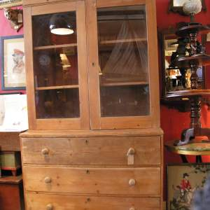 Victorian English Pine Country House Glazed topped Dresser above 3 good sized drawers