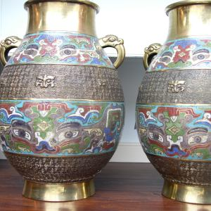 Pair of Late 19th Century Champleve Bronze Vases with enamelled decorative band