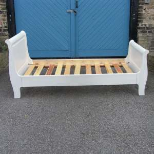 Lovely Quality White Painted Single Sleigh Bed with Slats, SOLD