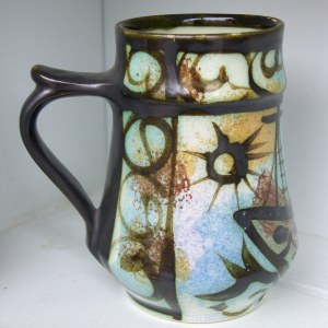Original Vintage Mid 20th Century Cornish Studio Pottery Mug