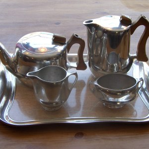 Original 1960s Picquot Ware Teapot & Coffee Pot set & Tray