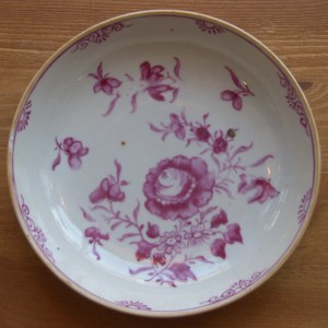 18th Century Plate painted in puce with flowers