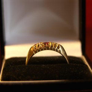 18 Carat Gold Ring with Diamonds & Rubies