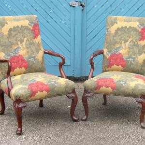 Pair of George II antique style Mahogany Framed Upholstered Armchairs