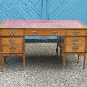 Top Quality Edwardian Satinwood Partners Desk with Original Leather & Handles