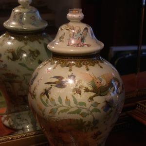 Original 19th Century Victorian 'Decalomania' Vase with Oriental Themed Prints